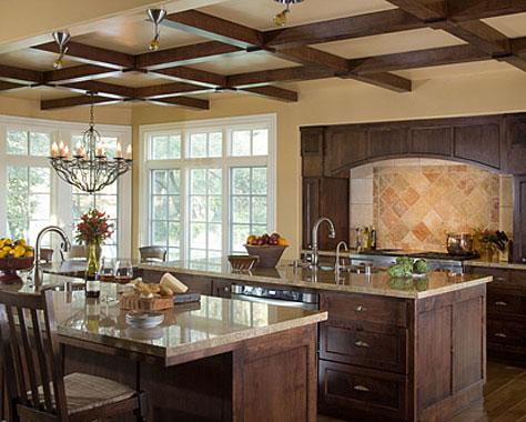 Space color furnishings window treatments lighting for Eldorado stone kitchen